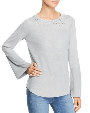 DESIGN HISTORY Stud Embellished Sweater in Snow Globe Gray