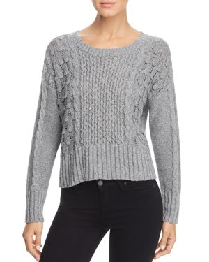 DESIGN HISTORY Mixed Knit Sweater in Felt Gray Heather
