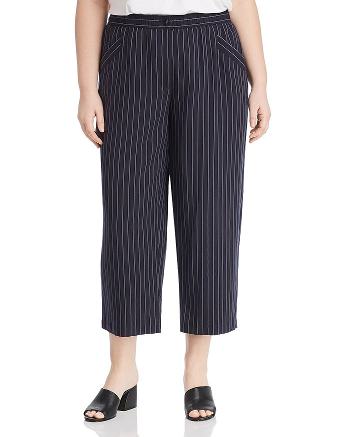Eileen Fisher Plus - Pinstripe Cropped Wide-Leg Pants