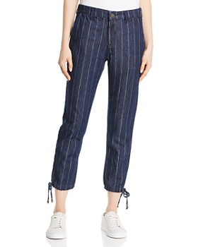 Parker Smith - Tori Drawstring Crop Skinny Jeans in Pin Stripe