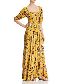 Band of Gypsies - Madrid Smocked Floral-Print Maxi Dress