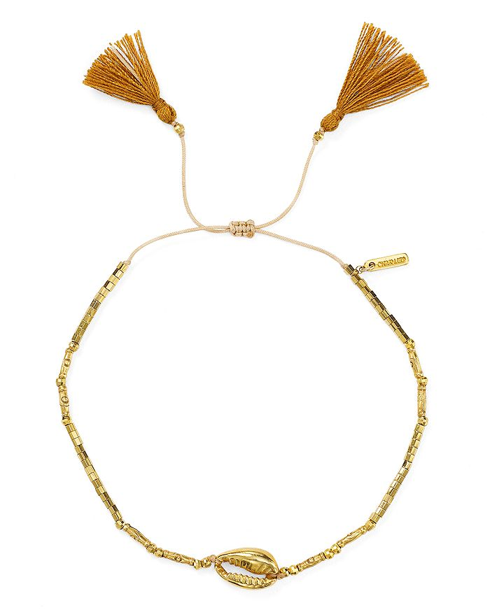 Chan Luu - Tasseled Shell Station Bracelet in 18K Gold-Plated Sterling Silver