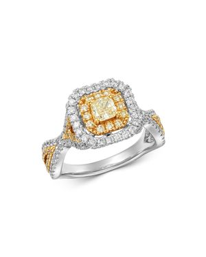 Bloomingdale's Radiant-Cut Yellow & White Diamond Statement Ring in 18K White & Yellow Gold - 100% E