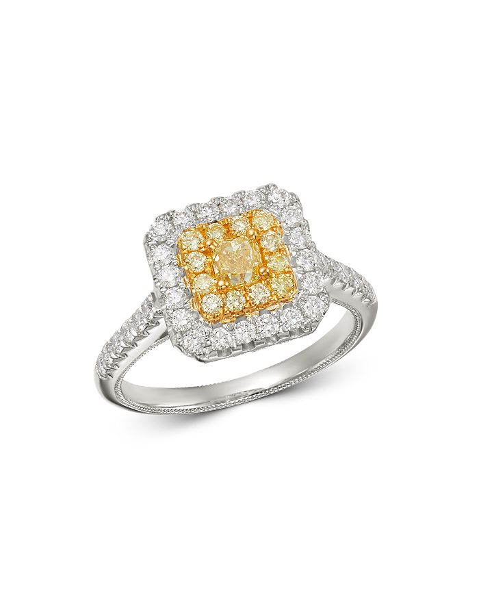 Bloomingdale's - Cushion-Cut Yellow & White Diamond Statement Ring in 18K White & Yellow Gold - 100% Exclusive