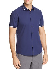 Michael Kors - Varsity Collar Short-Sleeve Slim Fit Shirt