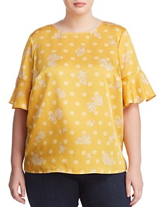 VINCE CAMUTO Plus - Printed Fluted-Cuff Blouse