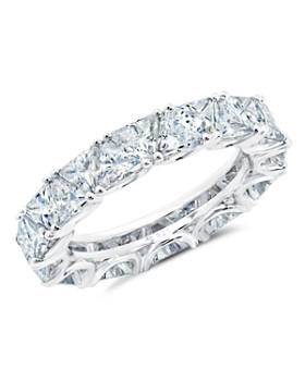 Crislu - Triangular-Cut Eternity Ring in Platinum-Plated Sterling Silver