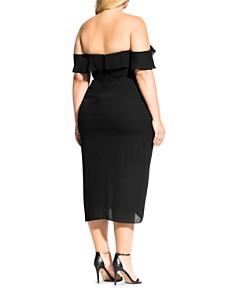 City Chic Plus - Off-the-Shoulder Ruffle Midi Dress