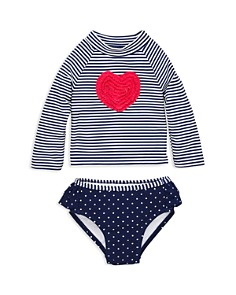 Little Me - Girls' Heart Long Sleeve Tee & Swim Bottom Rash Guard Set – Baby