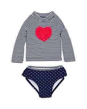 Little Me - Girls' Heart Long Sleeve Tee & Swim Bottom Rash Guard Set – Baby