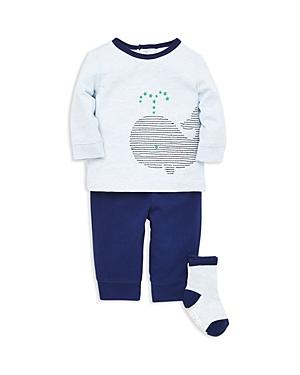 Little Me Boys Whale Long Sleeve Tee Jogger Pants  Socks Set  Baby