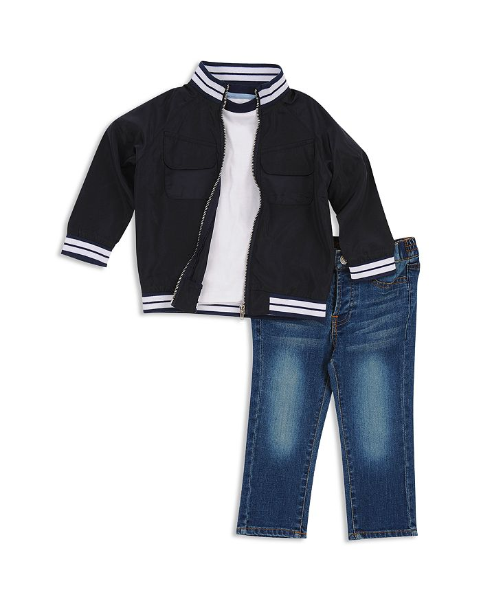 7 For All Mankind - Boys' Varsity Zip Jacket, Tee & Jeans Set - Baby