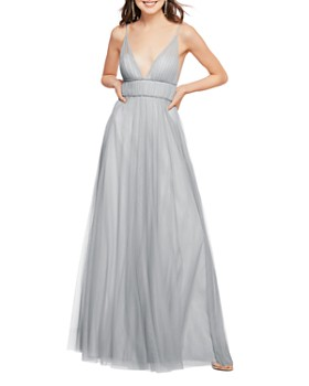 Watters - Callie Shirred V-Neck Gown