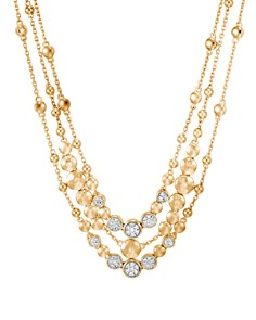 JOHN HARDY - 18K Yellow Gold Dot Hammered Multi-Row Necklace with Diamond, 18""