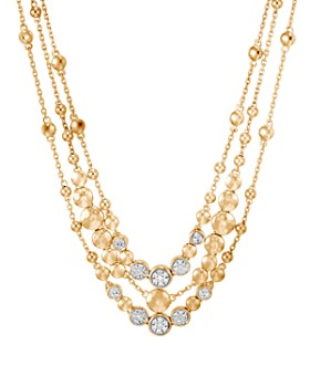 """JOHN HARDY - 18K Yellow Gold Dot Hammered Multi-Row Necklace with Diamond, 18"""""""