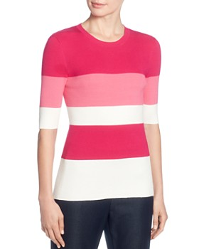 low priced 06ada e3b09 T Tahari - Striped Elbow Sleeve Sweater ...