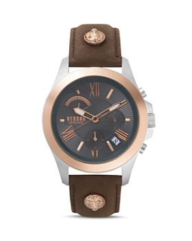 Versus Versace - Lion Brown Leather Strap Chronograph, 44mm