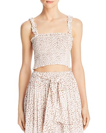 Faithfull the Brand - Smocked Floral Print Cropped Top