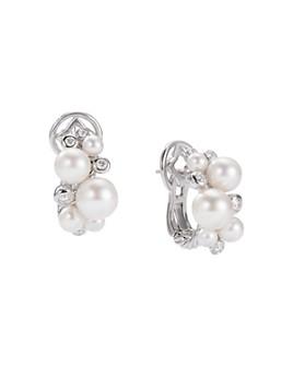 David Yurman - Pearl Cluster Earrings with Diamonds