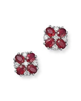 Bloomingdale's - Ruby & Diamond Flower Earrings in 14K White Gold - 100% Exclusive