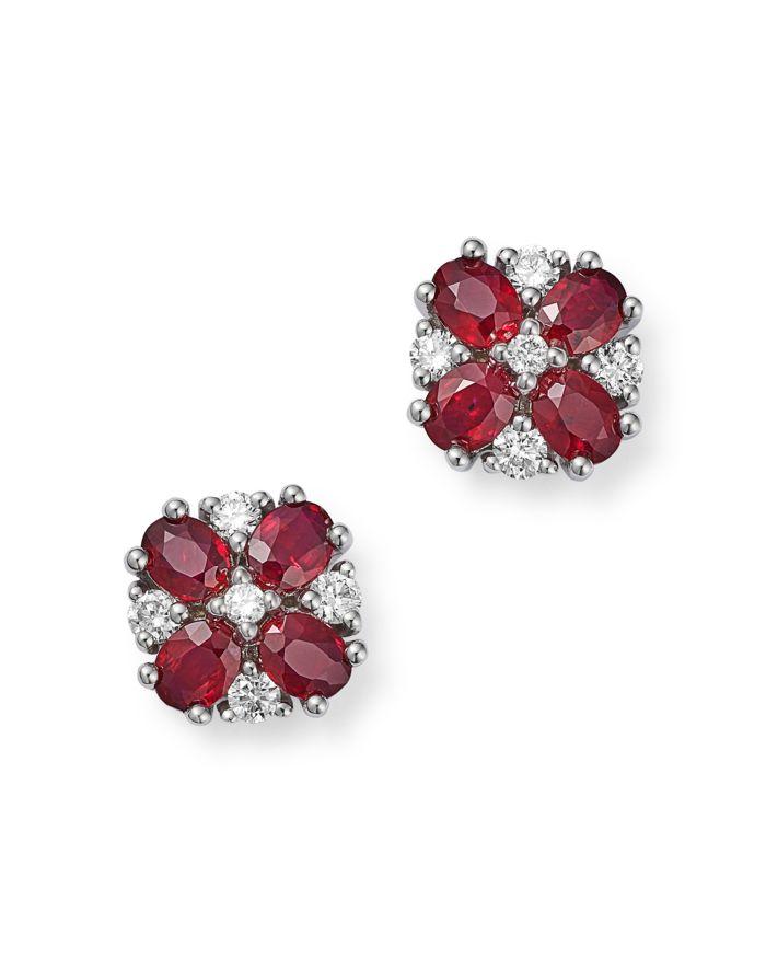 Bloomingdale's Ruby & Diamond Flower Earrings in 14K White Gold - 100% Exclusive  | Bloomingdale's