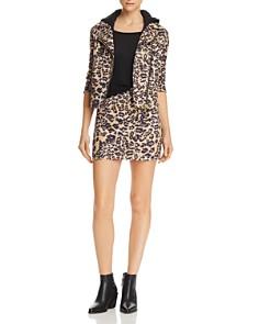 AQUA - Leopard Print Faux-Suede Mini Skirt - 100% Exclusive