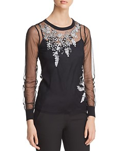 Elie Tahari - Adela Embellished Mesh Blouse - 100% Exclusive
