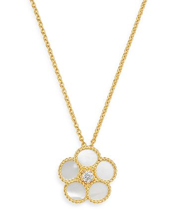 """Roberto Coin - 18K Yellow Gold Daisy Mother-of-Pearl & Diamond Pendant Necklace, 16"""" - 100% Exclusive"""