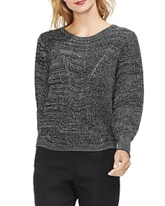 VINCE CAMUTO - Marled Lace-Up Detail Sweater