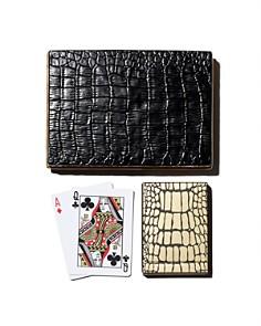 L'Objet - Black Croc Playing Card Box + 2 Decks