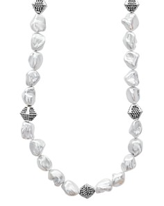 """LAGOS - Sterling Silver Luna Freshwater Keshi Pearl Necklace, 18"""""""