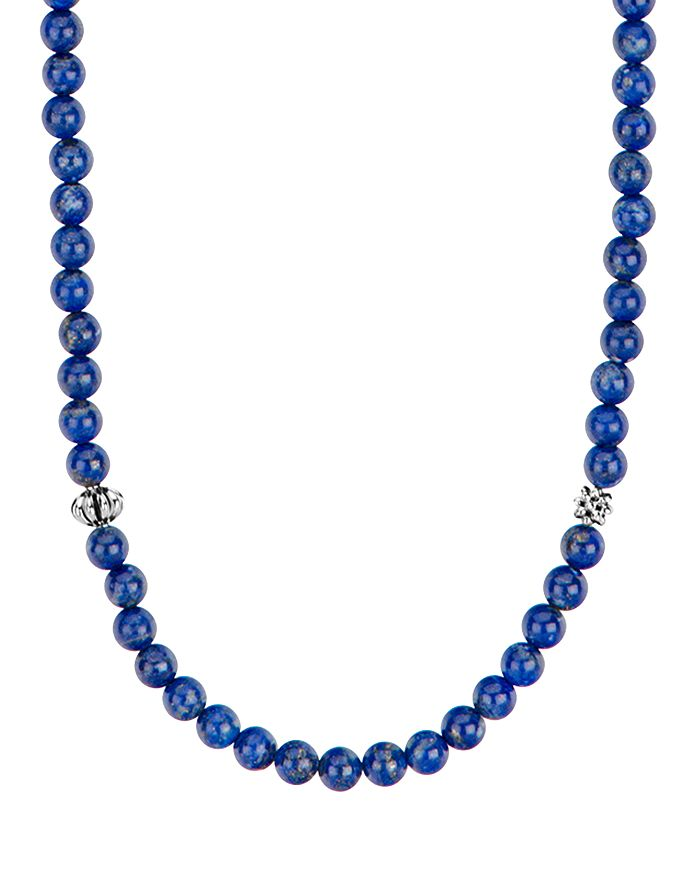 LAGOS - Sterling Silver Caviar Icon Lapis Beaded Station Necklace, 34""