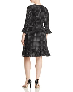 Adrianna Papell Plus - Pindot Wrap Front Ruffle Dress