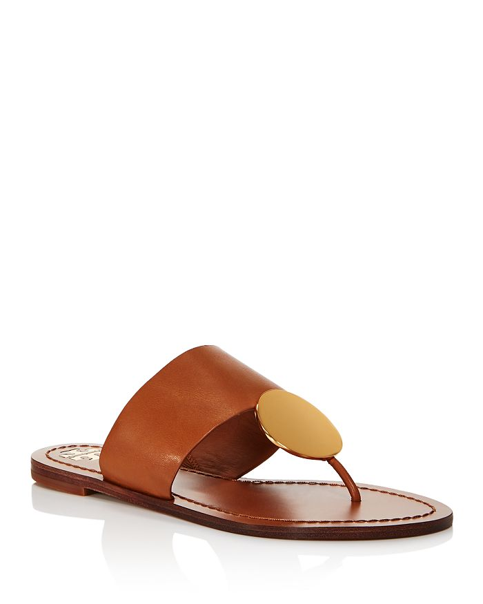 Tory Burch - Women's Patos Disc Leather Thong Sandals
