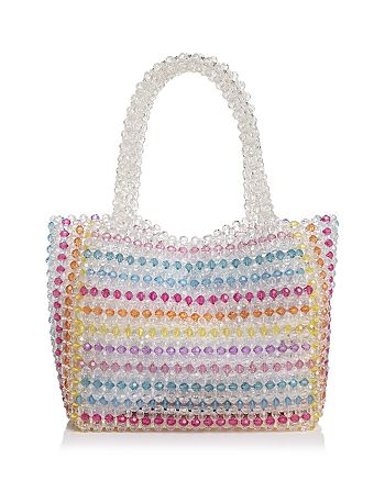 AQUA - Samira Striped Beaded Tote - 100% Exclusive