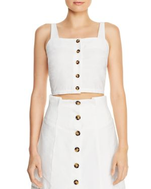 LUCY PARIS Lauren Button-Front Cropped Top in White