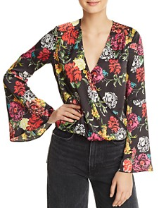 GUESS - Tia Floral Bell-Sleeve Top