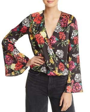 Guess Tia Floral Bell-Sleeve Top
