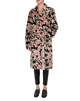 692582624664 The Kooples - Floral-Print Faux-Fur Coat ...