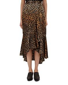 The Kooples - Leopard-Print Silk Midi Skirt