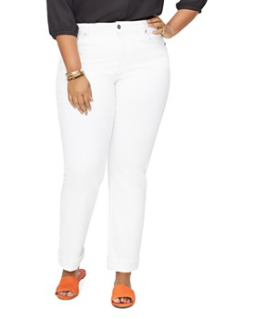 NYDJ Plus - Marilyn Straight-Leg Cuffed Ankle Jeans in Optic White
