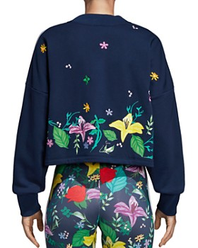 Adidas - Floral Triple Stripe Cropped Sweatshirt