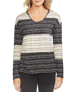 VINCE CAMUTO - Color-Block Striped Top