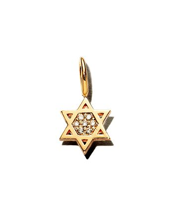 Zoë Chicco - 14K Yellow Gold Pavé Diamond Midi Bitty Star of David Charm