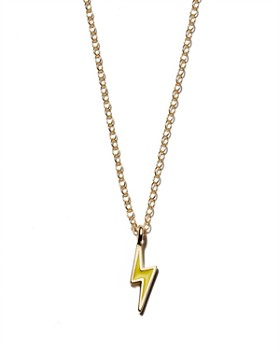 Kris Nations - Lightning Bolt Pendant Necklace in Gold-Plated Sterling Silver & Gold, 16""