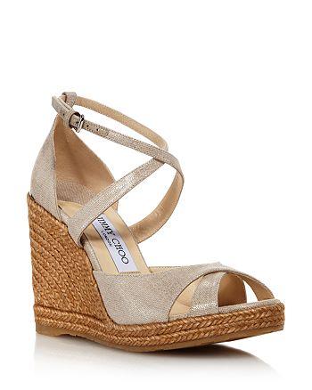Jimmy Choo - Women's Alanah 105 Cork Wedge Heel Sandals