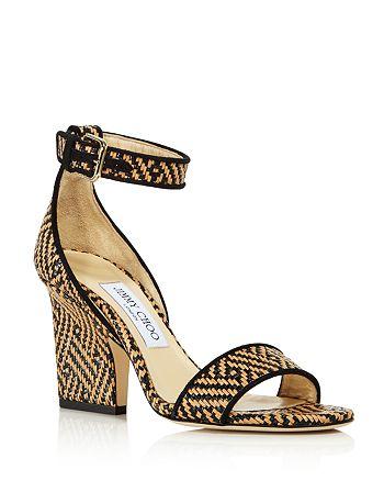 Jimmy Choo - Women's Edina Raffia Flattened Heel Sandals