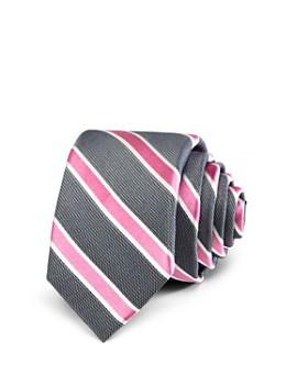 Michael Kors - Boys' White-Warp Striped Silk Classic Tie