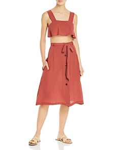 Ellejay - Nina Cropped Top Swim Cover-Up & Alyssa Skirt Swim Cover-Up
