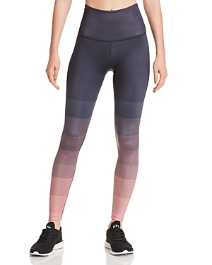 Beyond Yoga Pants LUX HIGH-RISE OMBRE STRIPED LEGGINGS